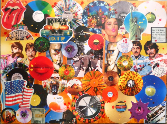 """A piece I made for my brothers new office as my Xmas gift to him. All old vinyl records from the new Taschen Book """"Extraordinary Vinyl"""""""