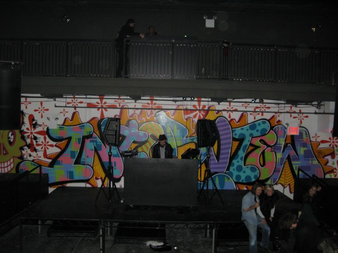 A-trak Spinning in front of Daks Interview Mural