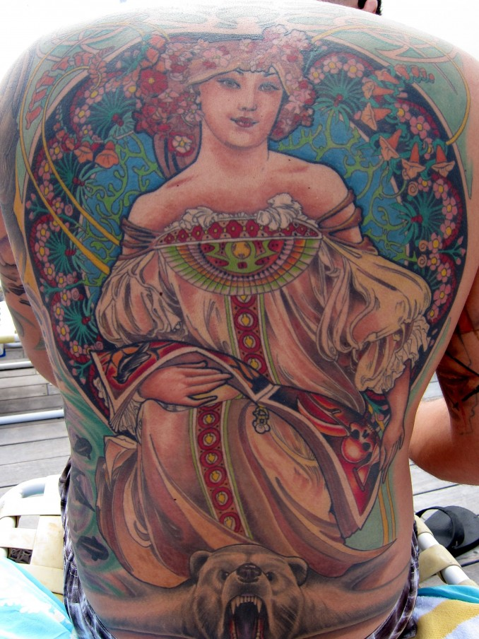 This insanely beautiful Alphonse Mucha Tattoo by Chris Blinston,