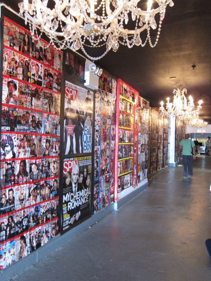 My personal favorite pics of these walls I worked on creating for the last 2 weeks... Using 25 years of the famed Music Magazines archives... Merging my talent and with my passion for music to create this nearly 100 ft wall was truly a great cool project to work on and build.